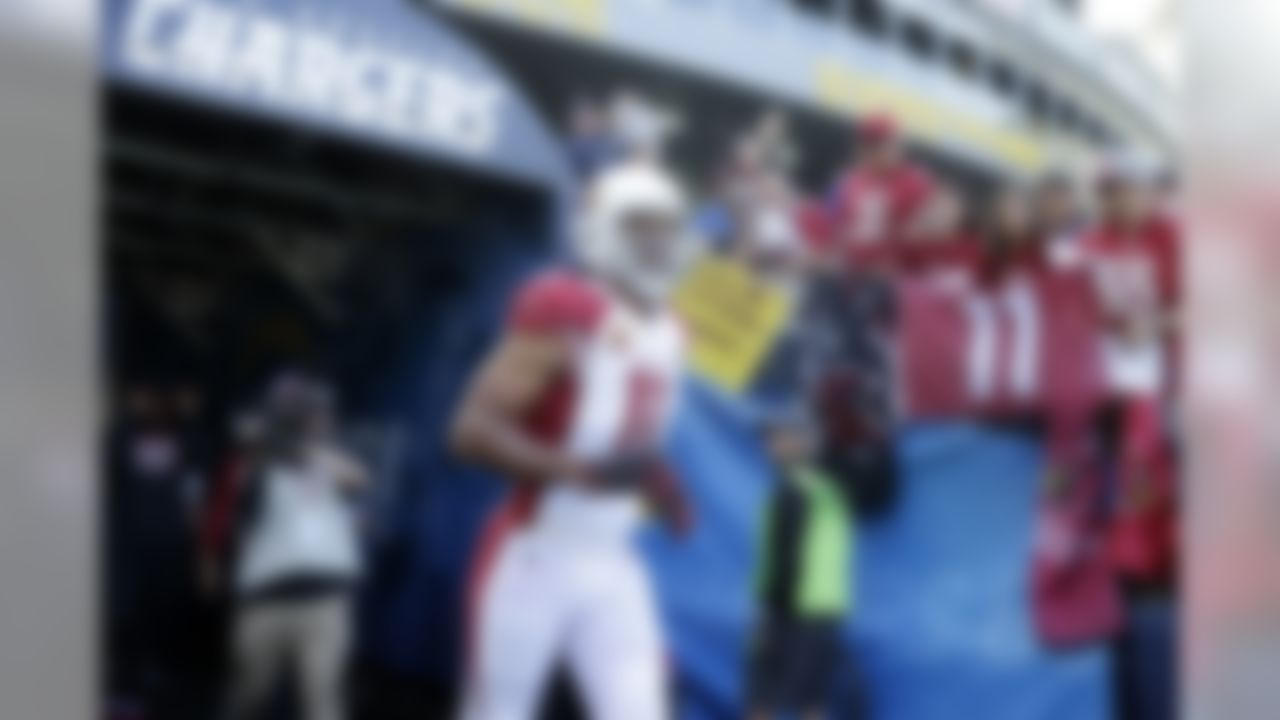 Arizona Cardinals wide receiver Larry Fitzgerald (11) runs out onto the field before an NFL football game against the Los Angeles Chargers, Sunday, Nov. 25, 2018, in Carson, Calif. (AP Photo/Jae C. Hong )