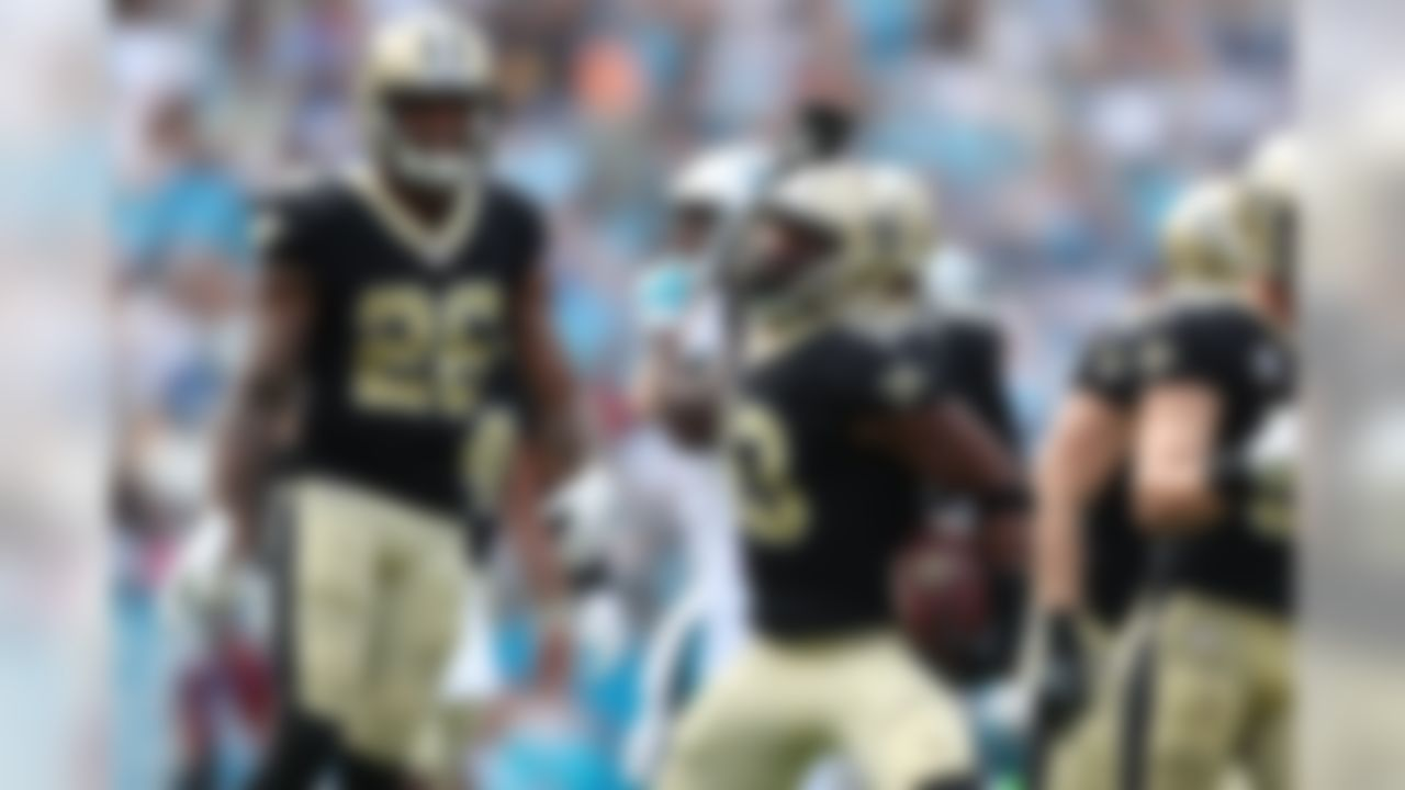 New Orleans Saints free safety Marcus Williams (43) celebrates after an interception during an NFL football game against the Carolina Panthers at Bank of America Stadium, Sunday, Sept. 24, 2017, in Charlotte. The Saints defeated the Panthers 34-13. (Perry Knotts/NFL)
