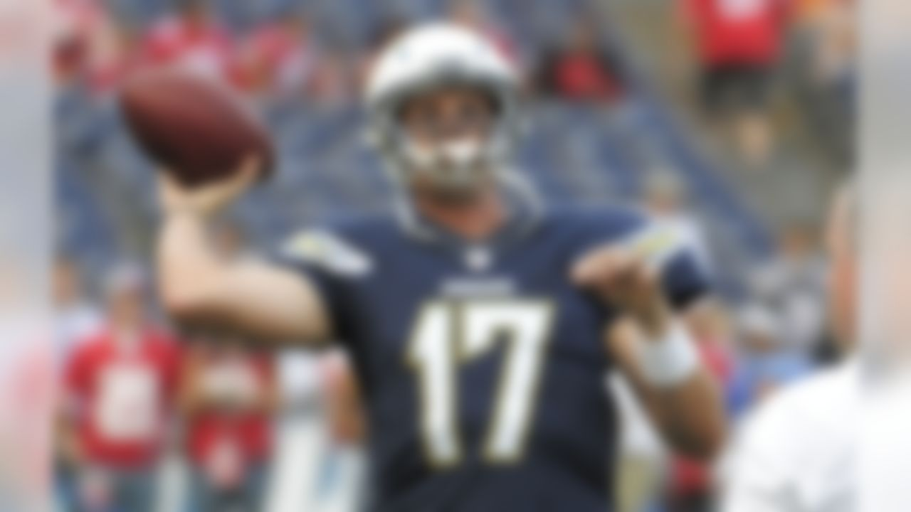 San Diego Chargers quarterback Philip Rivers throws a pass during warm ups before an NFL preseason football game against the San Francisco 49ers, Thursday, Aug. 29, 2013, in San Diego. (AP Photo/Denis Poroy)