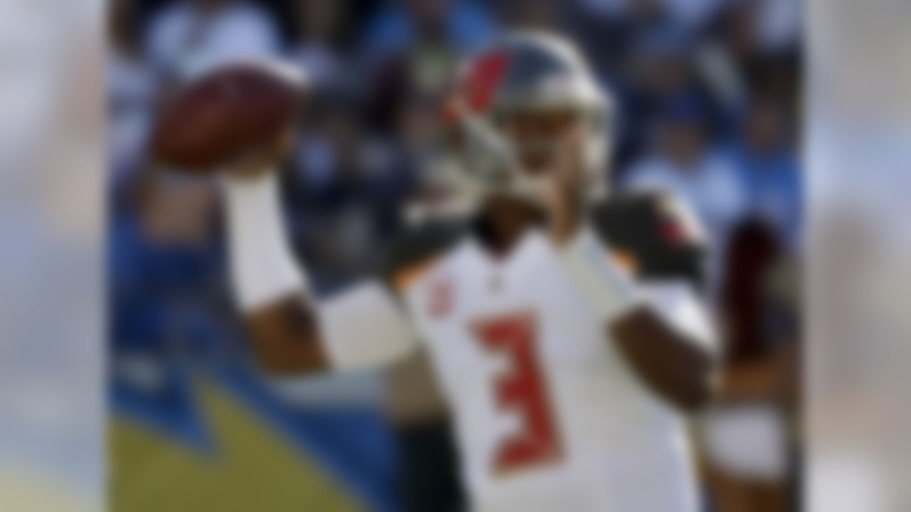Tampa Bay Buccaneers quarterback Jameis Winston passes against the San Diego Chargers during the first half of an NFL football game Sunday, Dec. 4, 2016, in San Diego. (AP Photo/Gregory Bull)