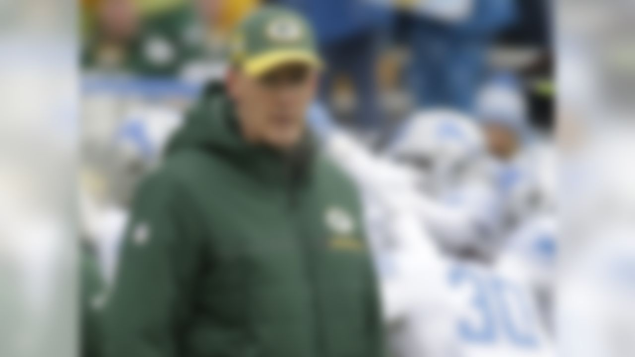 Green Bay Packers head coach Joe Philbin watches as players warm up before an NFL football game against the Detroit Lions Sunday, Dec. 30, 2018, in Green Bay, Wis. (AP Photo/Mike Roemer)