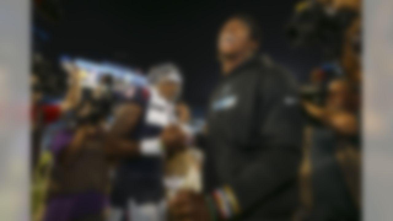 Houston Texans quarterback Deshaun Watson (4) and Carolina Panthers quarterback Cam Newton (1) shake hands on Wednesday, Aug. 9, 2017, in Charlotte, N.C. (Logan Bowles / NFL)