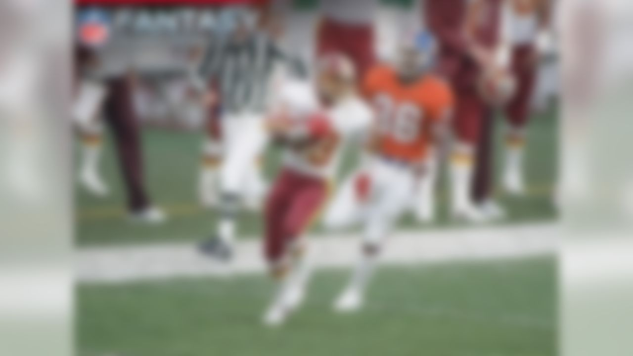 Sanders was a machine against the Denver Broncos, posting nine receptions for what was a record 193 yards with two touchdowns and 29.9 fantasy points. The speedster averaged 21.4 yards per reception and found the end zone on long downfield strikes of 80 and 50 yards from game MVP Doug Williams. His yardage total in the game would have accounted for 31 percent of his yards during the entire 1987 season, so it was a breakout performance.