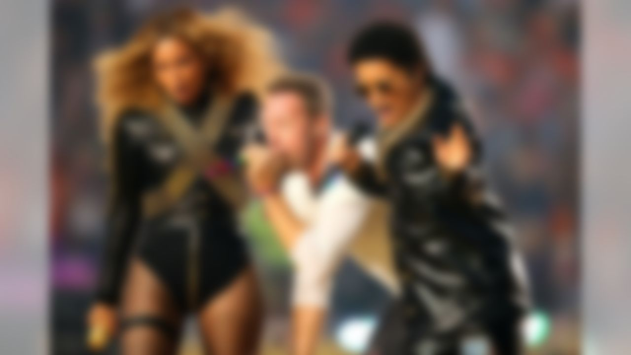 Beyonce (L - R), Coldplay signer Chris Martin and Bruno Mars performs during the Super Bowl 50 halftime show between the Denver Broncos and the Carolina Panthers on Sunday, Feb. 7, 2016 at Levi's Stadium in Santa Clara, Calif. (Shawn Hubbard/NFL)