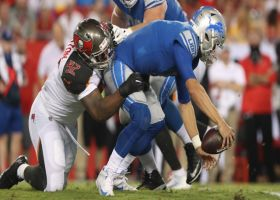 Gholston blows by the O-line, then sacks Stafford easily