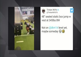 Tristan Wirfs' 48-inch seated box jump grabs DK Metcalf's attention