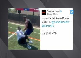 Aaron Donald skips situps for standups during workout