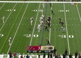 Adam Trautman carries Falcons defenders on 19-yard grab