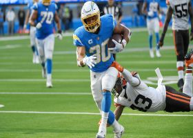Browns push Austin Ekeler into end zone for TD against RB's will