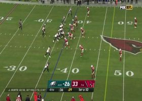 Hurts turns potential turnover into scrambling sideline dart to Goedert