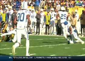 Kenny Moore corrals pass deflected by JuJu for early INT