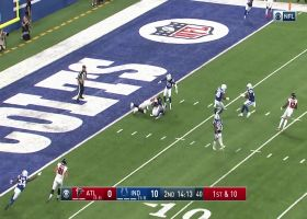 Clayton Geathers gets MAJOR air to pick off Matt Ryan's throw over the middle