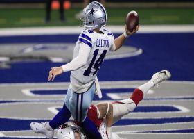 Dalton somehow avoids safety on twisting check-down throw to Zeke