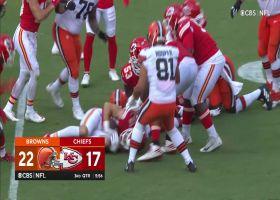 Juan Thornhill's helmet forces key Nick Chubb fumble