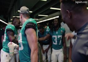 Cornerback Tre Herndon breaks Jaguars' post-game huddle after two interceptions in win over the Jets