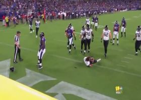 Gardner Minshew's helmet goes flying after Kenny Young's sack