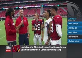 Former Arizona Cardinals quarterback Kurt Warner asks Cardinals wide receivers Larry Fitzgerald, Christian Kirk, Andy Isabella a