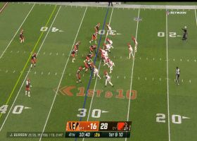 Burrow breaks away from would-be sack for improv throw to Higgins