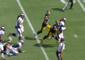 Big Ben coughs up the football on strip-sack by Reed