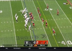 Browns defenders get to Carr as the pocket collapses for third-down sack