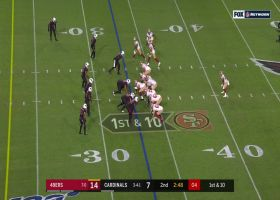 Matt Breida hurdles over teammate for explosive 19-yard run