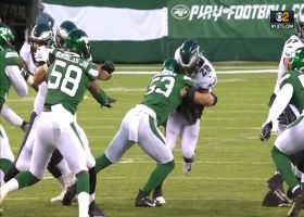 Easy money! Jets rookie LB Cashman forces turnover with big hit