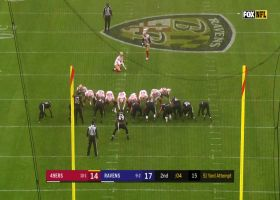 Ravens block Robbie Gould's would-be game-tying field goal try before halftime