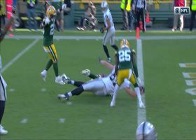 Foster Moreau withstands collision for impressive goal-line TD dive