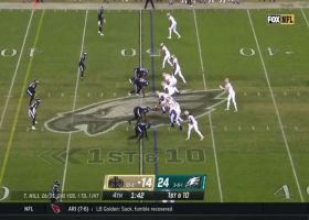 Taysom Hill's 31-yard launch is just beyond DB's reach