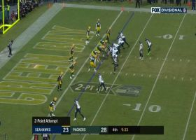 Jaire Alexander gets to Russell Wilson on CB blitz to stop two-point try