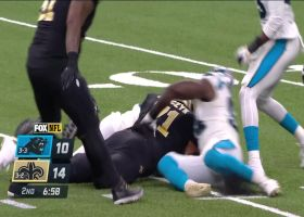 Brian Burns bursts by LT for blazing-fast strip-sack of Drew Brees