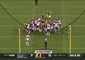 Dustin Hopkins' 43-yard FG try is no good after slicing wide left