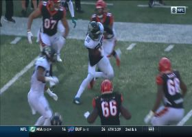 Myles Jack gives ball to Ronnie Harrison after jump Dalton's throw for epic INT return