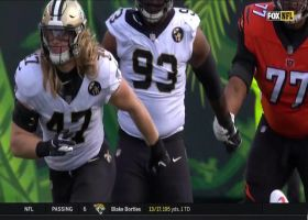 Alex Anzalone flies in untouched for sack