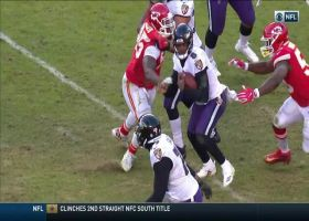 Lamar Jackson leaves the field after sack from Houston, Ford