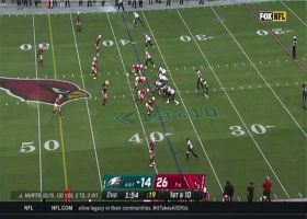 Jalen Hurts escapes pressure for 42-yard launch to Zach Ertz