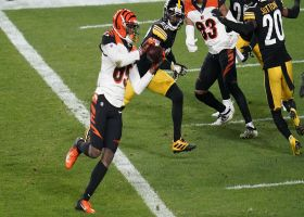 Bengals run shield slant to perfection on TD from Burrow to Higgins