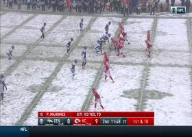 Shelby Harris does snow angels after BIG sack