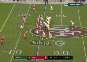 Niners force Rodgers to check down after sniffing out trick play