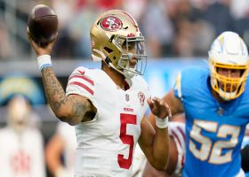 Lance's sideline loft to Sherfield nets 41 yards to get 49ers in red zone