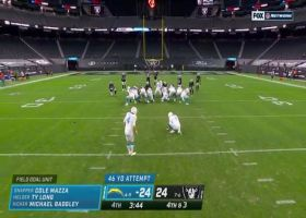 Badgley's 47-yard field goal is no good after hooking wide left