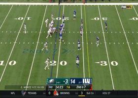Miles Sanders cuts across the field for 14-yard gain