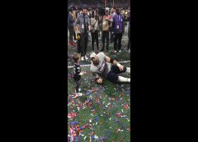 James Develin celebrates Super Bowl win with his kids