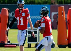 Carson Wentz, Jalen Hurts run QB drills at training camp