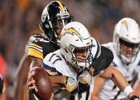 Terrell Edmunds bullrushes Rivers for first NFL sack