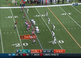 Burrow hangs in the pocket for tough fadeaway toss to Sample