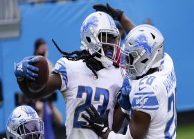 Desmond Trufant gets UP for Lions' second end-zone INT