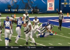 Giants defenders charge towards Wentz for 8-yard sack