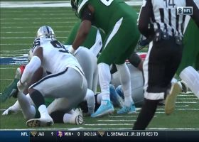 Clelin Ferrell FLIES off edge to strip-sack Darnold for turnover