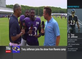 Baltimore Ravens running back Mark Ingram sneaks up on safety Tony Jefferson during interview